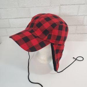 Flannel print warm winter hat